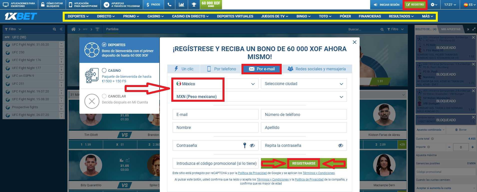 La sucursal nueva de 1xBet España register